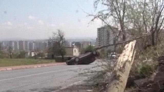 Kayseri'de otomobili takla atan sürücünün burnu bile kanamadı