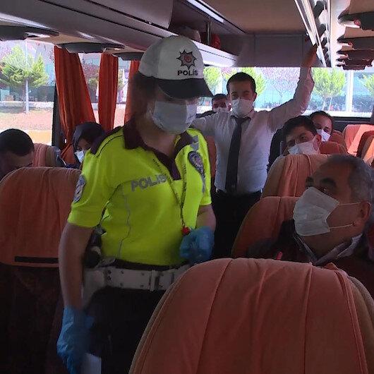 Tam kapanma öncesi şehirler arası otobüslerde koronavirüs denetimi yapıldı
