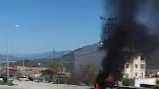 Tokat'ta LPG'li otomobil seyir esnasında alev aldı