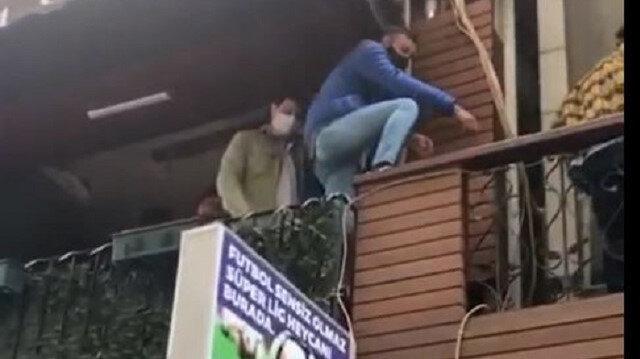 Trabzon'da kısıtlamada açık olan kafeye polis baskını: İçerideki bir grup genç balkondan balkona kaçtı
