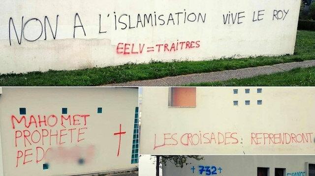 Fransa'da İslamofobik saldırıların ardı arkası kesilmiyor:  İbni Sina Camisi'ne yine İslam karşıtı yazılar yazıldı