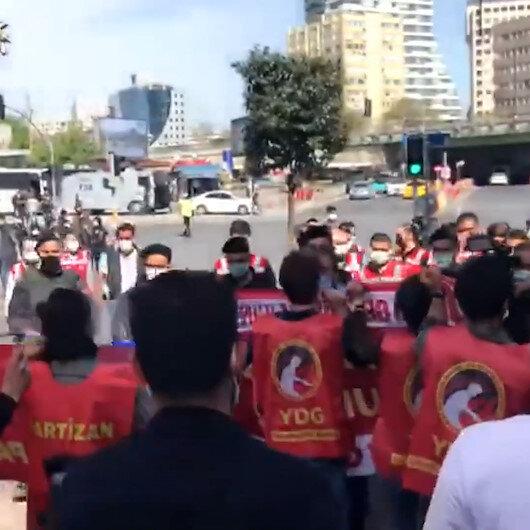Tam kapanmaya rağmen Taksime yürümek isteyen gruba polis müdahale etti