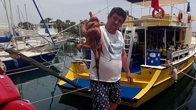 İki kiloluk ahtapot tam kapanmada kıyıya geldi