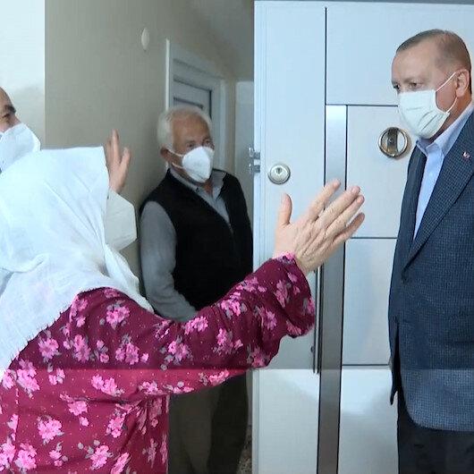 Cumhurbaşkanı Erdoğan Sultanbeylide Mahruze Keleşi evinde ziyaret etti