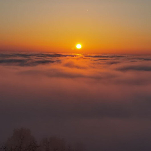 Doğu Karadenizde sis bulutlarının görsen şöleni