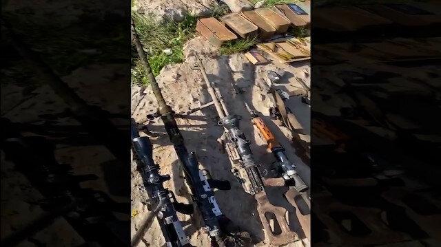 7 PKK'lı teröristin etkisiz hale getirildiği mağarada ele geçirilen silah ve mühimmatlar paylaşıldı