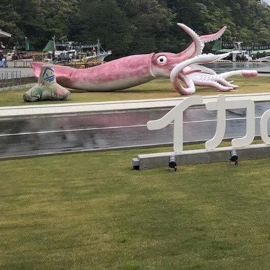 Japonya'da koronavirüs yardım fonu ile 'kalamar heykeli' inşa edildi