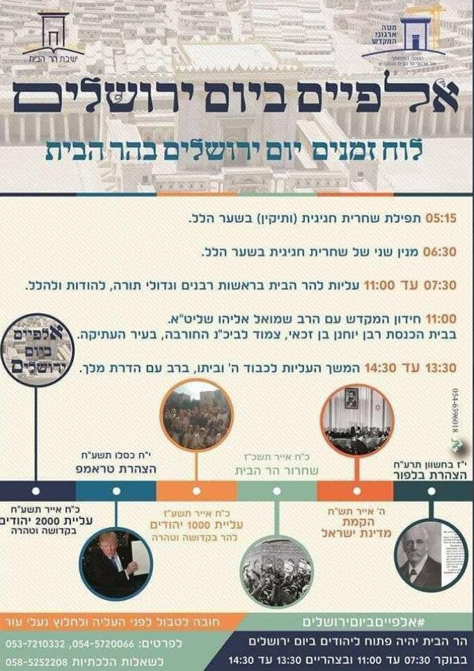 Fanatik Yahudilerin, düzenlenecek olan baskının büyük bir dönüm noktası olacağını açıkladıkları bildiri. (Bildirideki tabloda, Yahudilerin daha önce yaşadığı dönüm noktaları hatırlatılıyor.)
