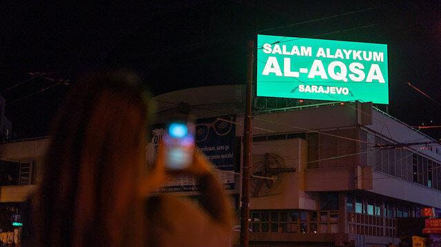 """Saray Bosna'dan zulme uğrayan Filistinlilere yanındayız mesajı: """"Selamün Aleyküm Mescid-i Aksa"""""""