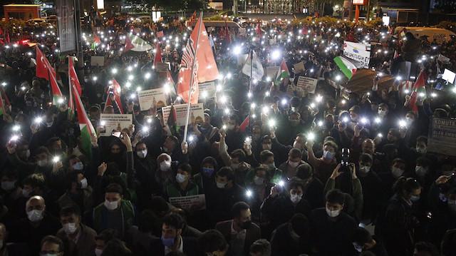 İsrail Başkonsolosluğu önünde Mescid-i Aksa saldırısı bir kez daha protesto edildi