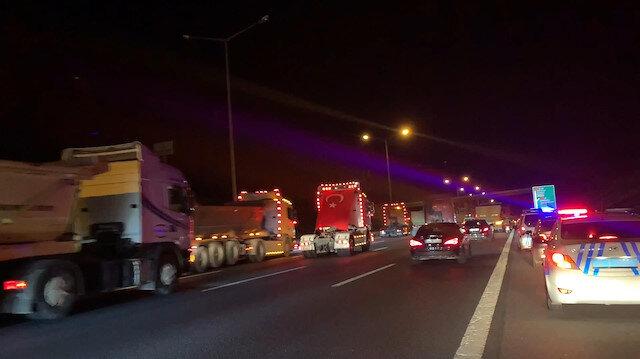 TIR sürücüleri İsrail terörünü protesto etti