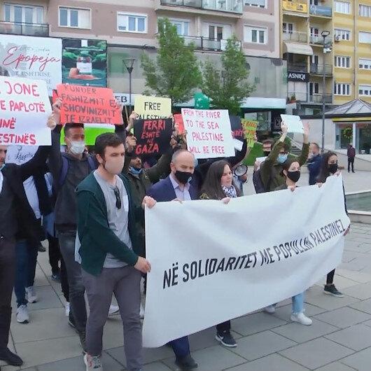 Kosovadan Filistinlilere destek gösterisi
