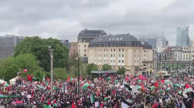 Belçika'da Filistin'e destek gösterisi düzenlendi