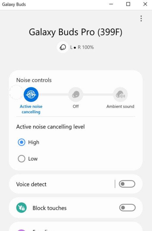 Galaxy Buds uygulaması üzerinden aktif gürültü engelleme teknolojisi de ayarlanabiliyor.