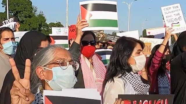 Pakistan'da işgalci İsrail'in Filistinlilere yönelik saldırıları protesto edildi