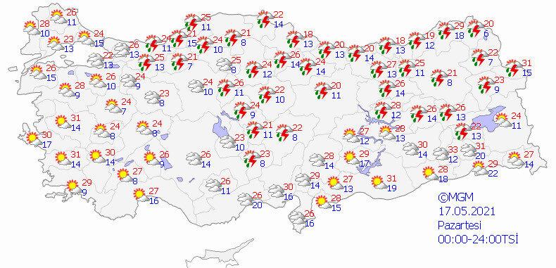 Meteorolojinin 17 Mayıs için hava durumu tahmin haritası.