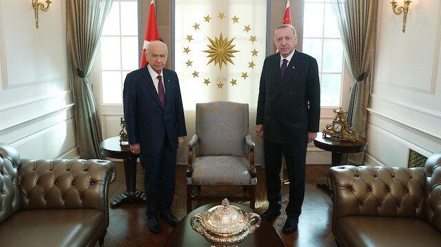 Cumhurbaşkanı Erdoğan MHP Genel Başkanı Bahçeli ile Çankaya'da görüştü