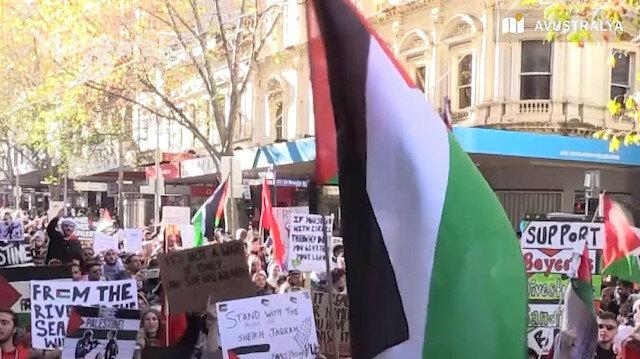 Avustralya'nın birçok şehrinde işgalci İsrail'in saldırıları kınandı