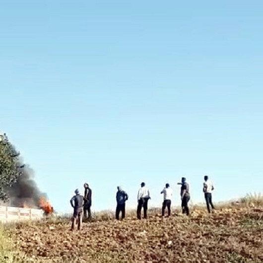Kamyon alev alev yanarken çevresinde toplanıp izlediler