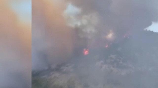 Milas'taki orman yangınının başlama anı cep telefonu kamerasına yansıdı