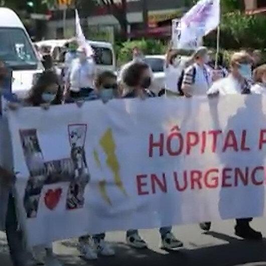 Fransada sağlık çalışanları hükümete karşı protesto düzenledi