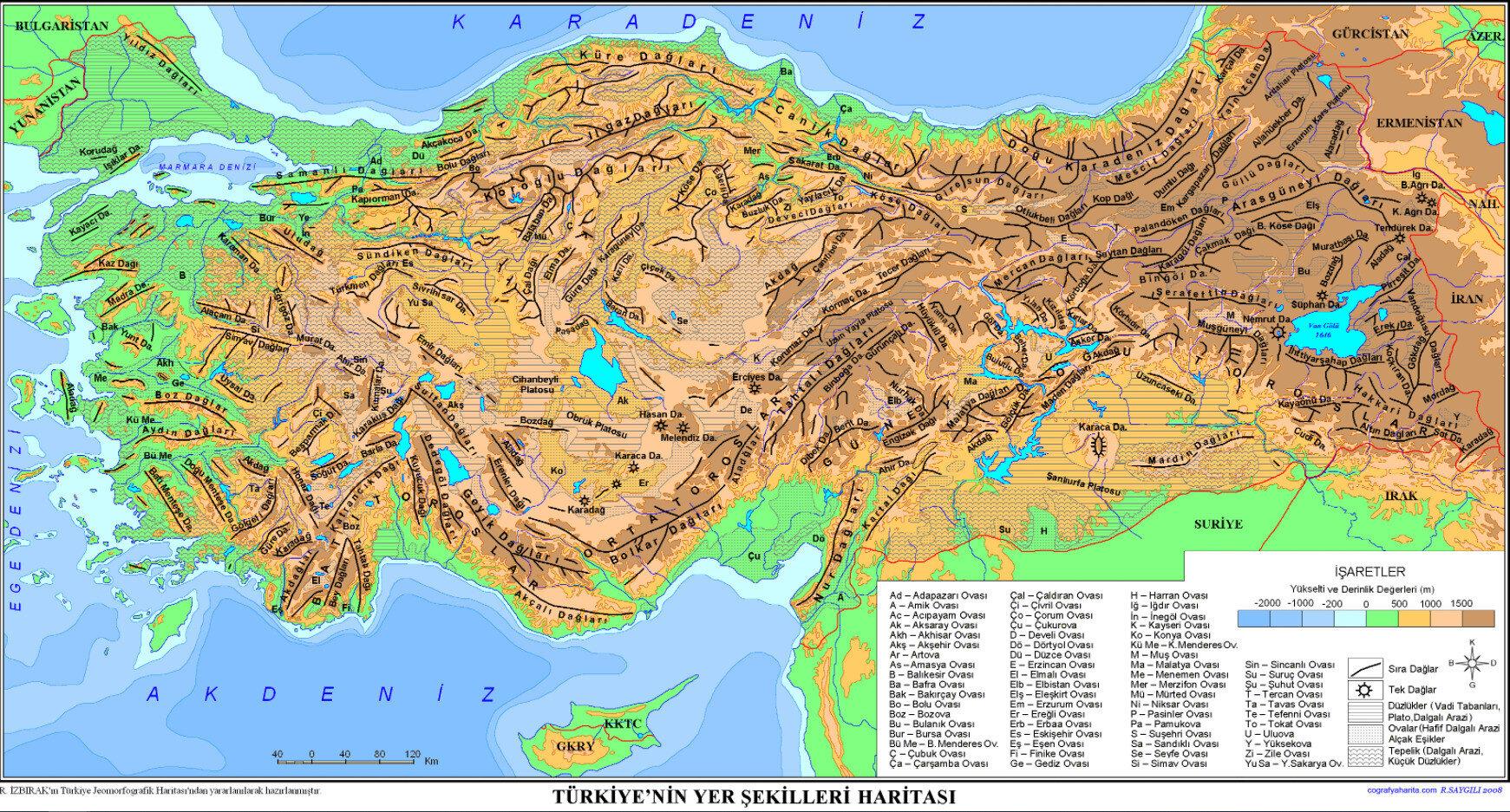 Türkiye'nin Yer Şekilleri Haritası