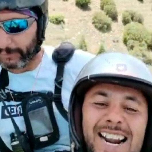 Tarlasına inen paraşütçüyle diyaloğu gündem olan çiftçinin uçma hayali gerçekleşti: Bu kez de havada güldürdü