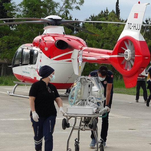 Samsunda ambulans helikopter dört günlük bebek için havalandı