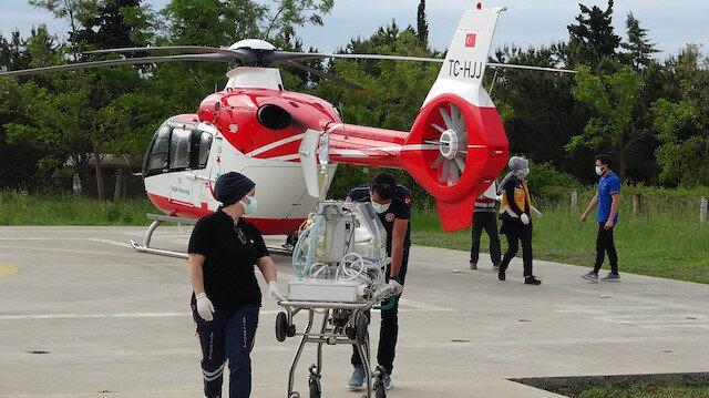 Samsun'da ambulans helikopter dört günlük bebek için havalandı
