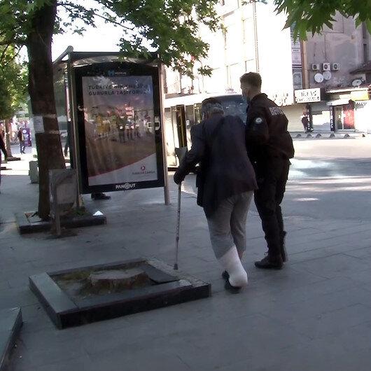Arnavutköyde alışverişe çıkan yaşlı adamın yardımına gece kartalları koştu
