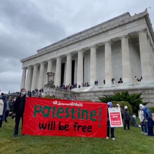 ABDnin başkenti Washingtonda binlerce kişi Filistine destek gösterisi düzenledi