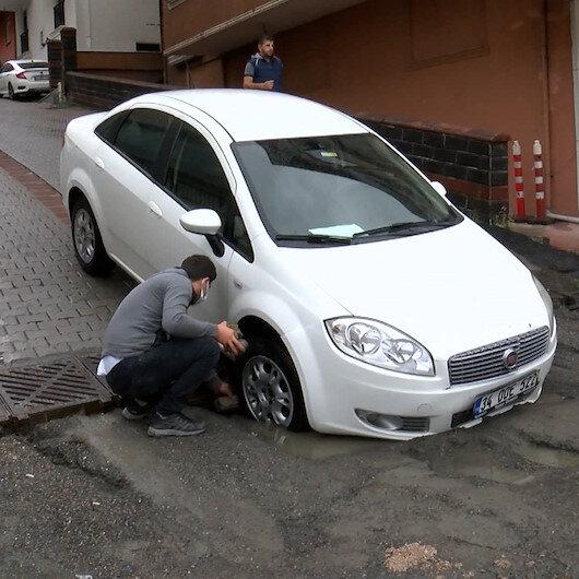 Ataşehirde araç sürücülerinin çukur kabusu