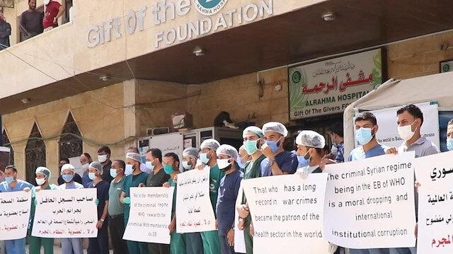 Suriyeli sağlık çalışanları Esad rejiminin DSÖ'nün Yürütme Kurulu'na üye seçilmesini protesto etti