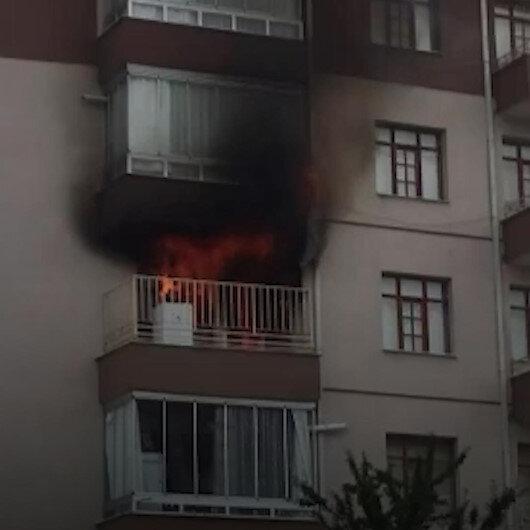 Konyada bir apartmanın 4. katında yangın çıktı