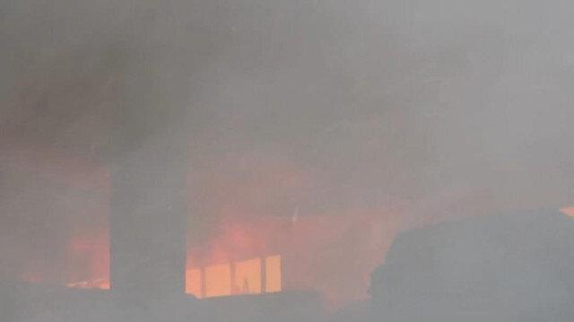 Denizli'de iplik fabrikasında yangın çıktı