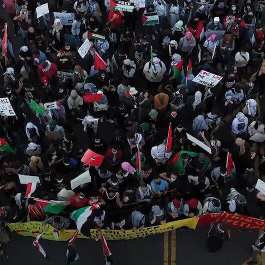 New Yorkta toplanan protestocular Filistine destek gösterisi düzenledi