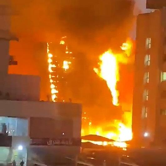 Kuveytte alevlere teslim olan bina paniğe neden oldu