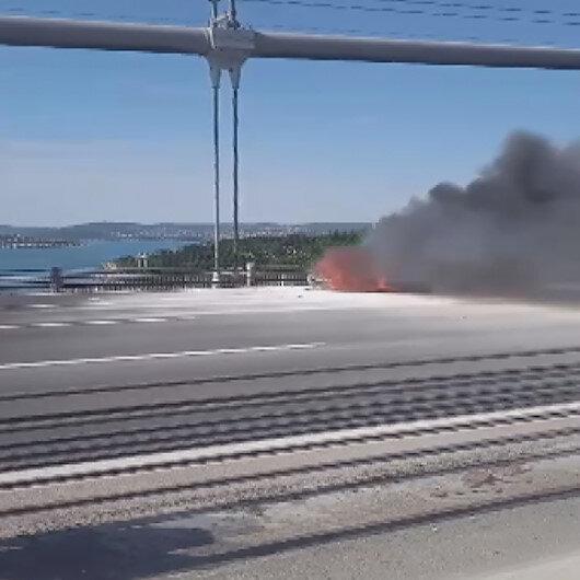 Boğaz Köprüsünde korkutan yangın: Köprü trafiği kilitlendi