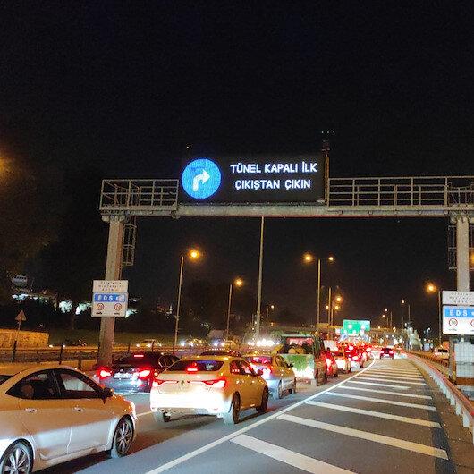 Avrasya Tünelinde araç yangını: Tüm şeritler trafiğe kapatıldı