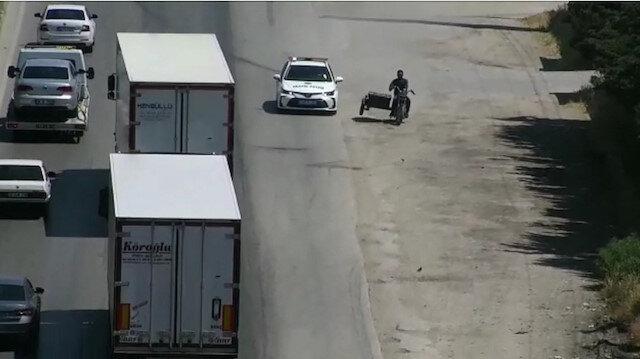 Hatay'da polisle plakasız motosikletlinin film sahnelerini aratmayan kovalamacası