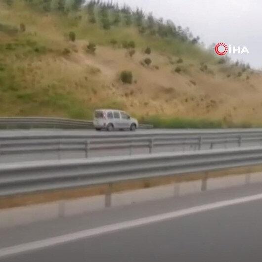 Kuzey Marmara Otoyolunda ters şeritteki son sürat seyahat kamerada