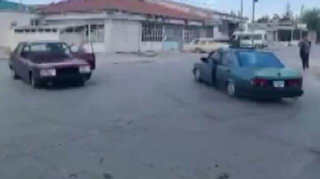 Konya'da iki otomobil karşılıklı drift yaptı