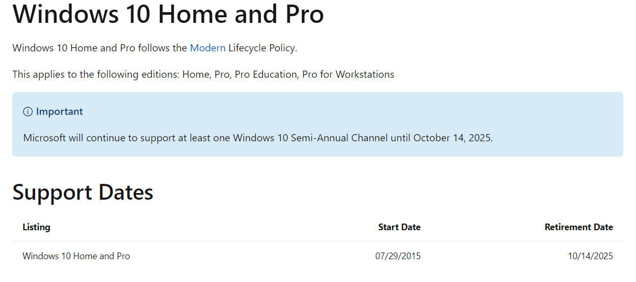 Microsoft, Windows 10 için desteğin 14 Ekim 2025'te tamamen sona erdiğini belirtiyor.