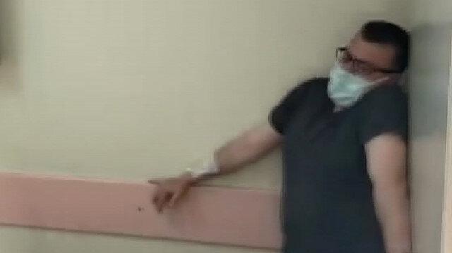 Yangın tatbikatına katılan hastane çalışanı kendini rolüne kaptırdı