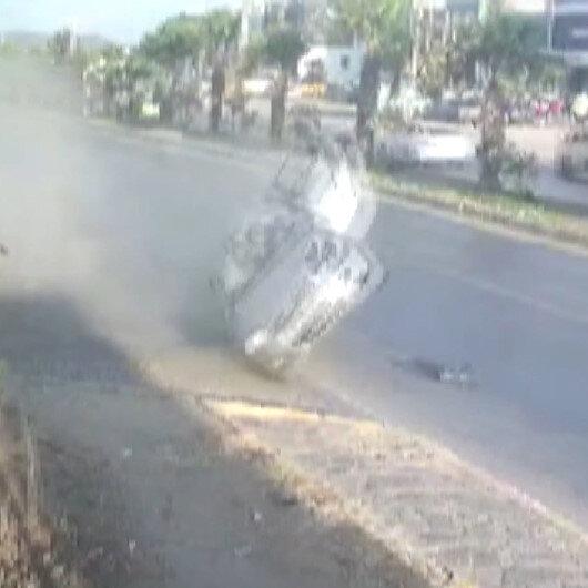 Yayaya çarpmamak için manevra yapan otomobil sürücüsü defalarca takla attı