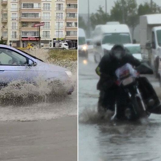 Başkentte yağış su baskınlarına neden oldu: Yollar göle döndü