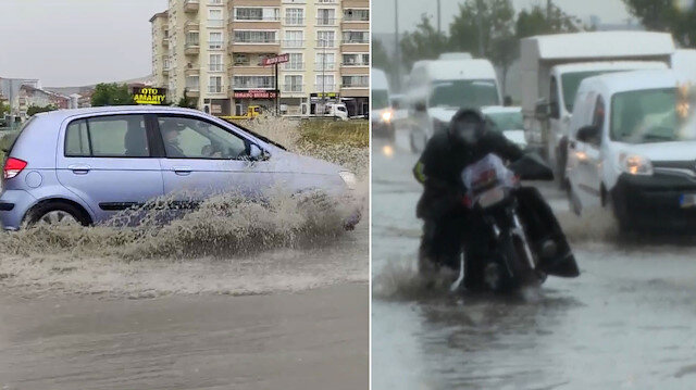 Başkent'te yağış su baskınlarına neden oldu: Yollar göle döndü
