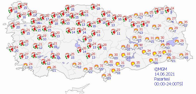 Meteorolojinin yarın için hava durumu tahmin haritası.