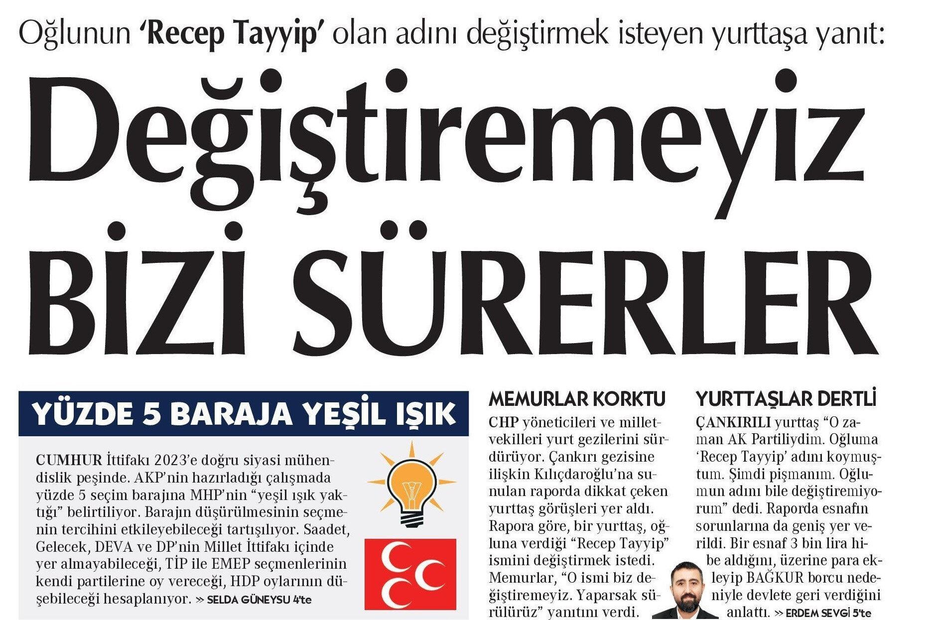 Cumhuriyet gazetesinin haberi