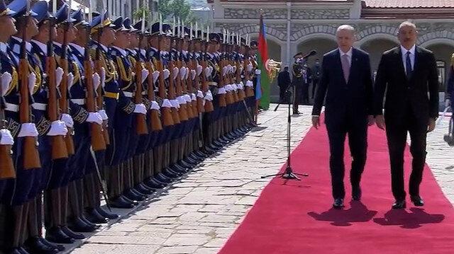 Cumhurbaşkanı Erdoğan Şuşa'da resmi törenle karşılandı